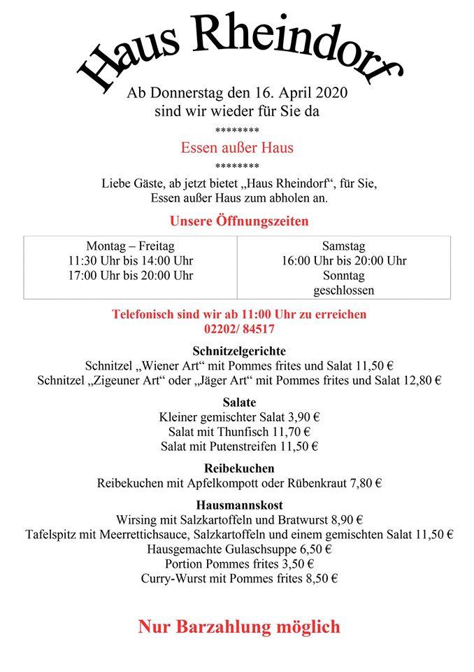 Haus Rheindorf in Schildgen - Essen zur Abholung