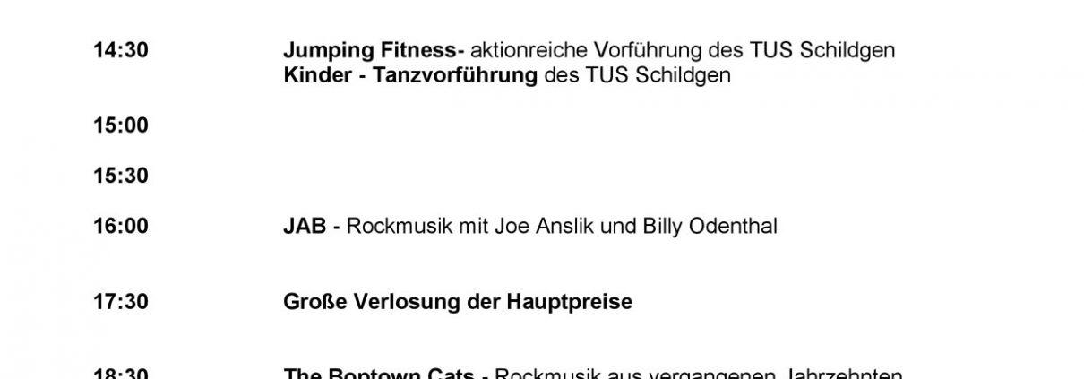 Bühnenprogramm des Dorffestes in Schildgen 2018