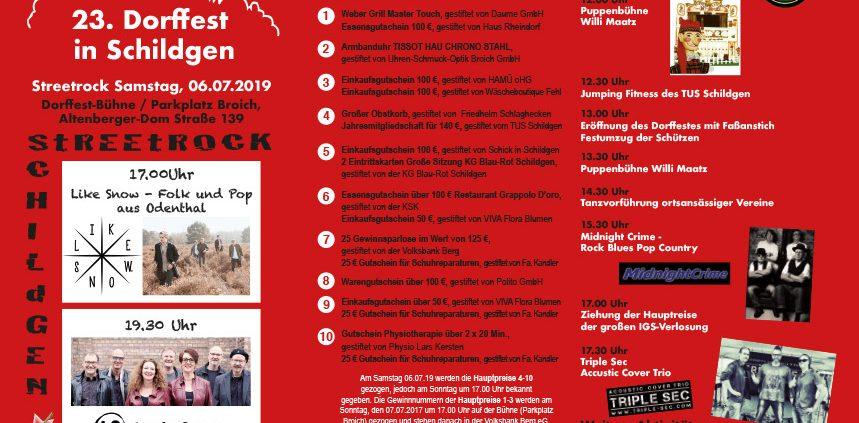 Dorffest 2019 in Schildgen – Bühnenprogramm