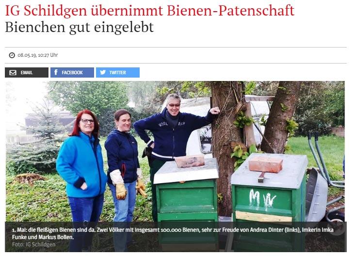 Bergisches Handelsblatt: IG Schildgen übernimmt Bienen-Patenschaft