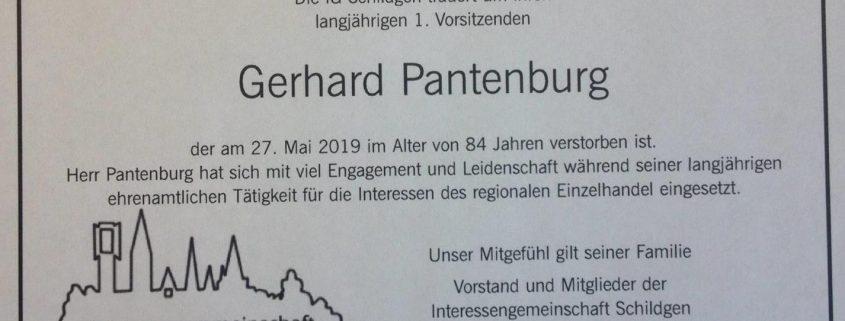 Todesanzeige Gerhard Pantenburg