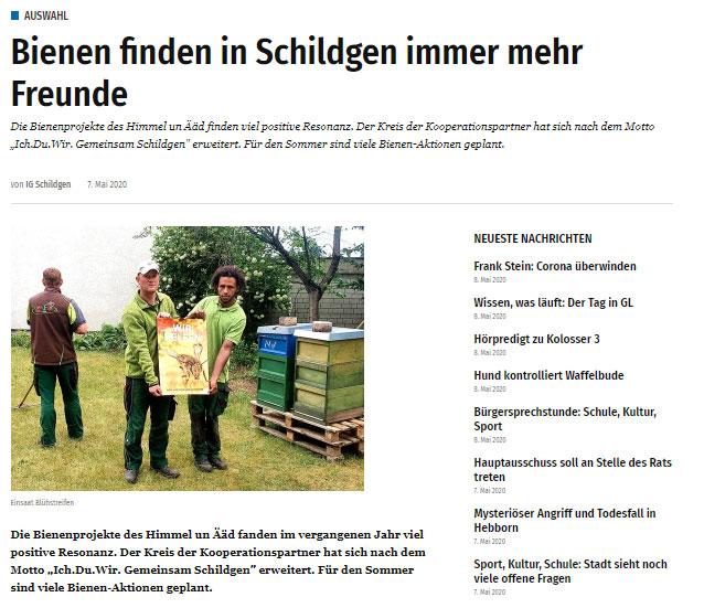 """iGL Bürgerportal: """"Bienen finden in Schildgen immer mehr Freunde"""""""